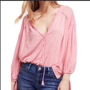 Free People Just a Henley Tee Pink Rose Heather